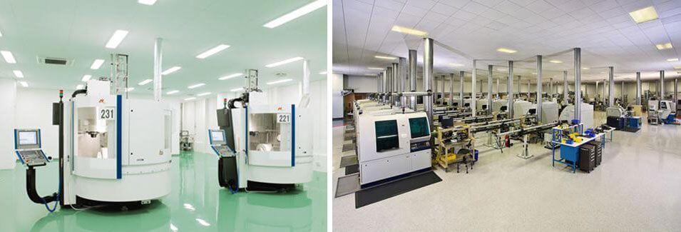 Instal·lacions i laboratoris de l'empresa Nobel. Realitzen la fabricació dels implants dentals que utilitzem a la clínica dental Padrós a Barcelona